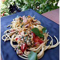 Spaghetti con telline e bottarga di Orbetello